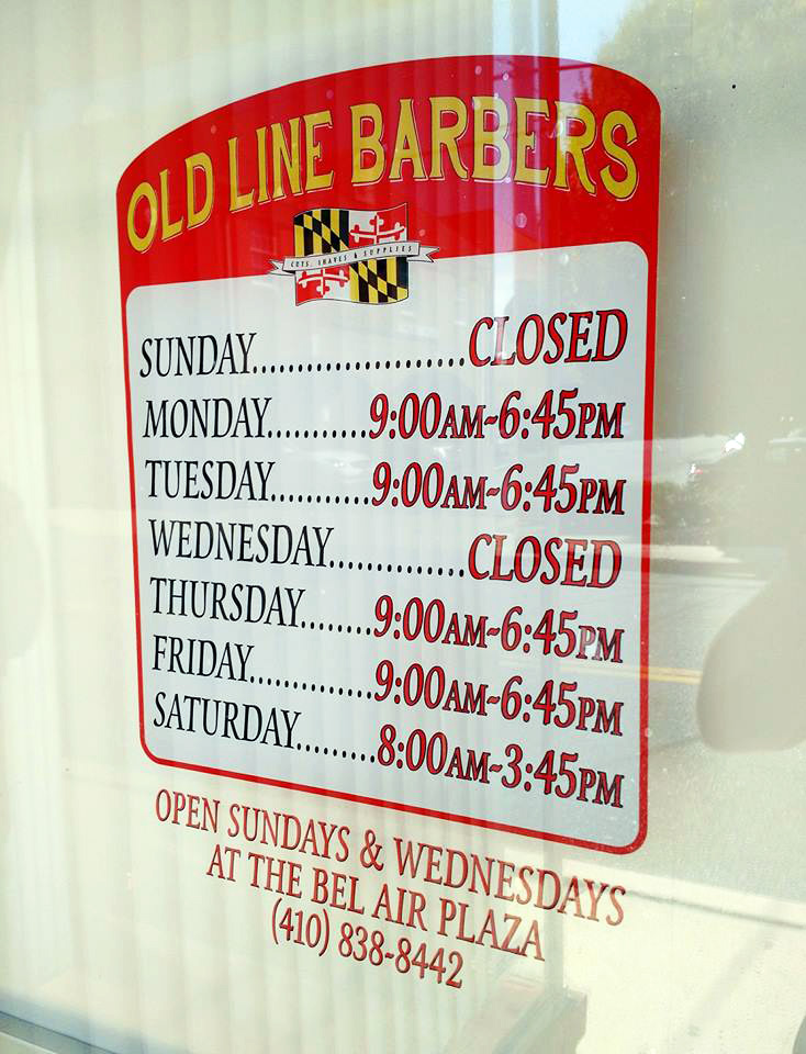 Custom made window signage for Old Line Barbers in Bel Air, MD.